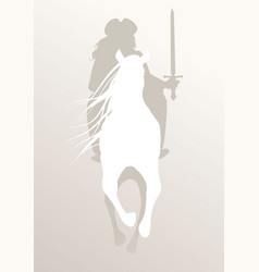 silhouette knight riding white horse sword in vector image