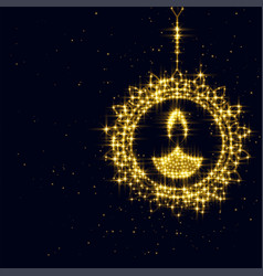 Sparking diwali diya decoration on black vector
