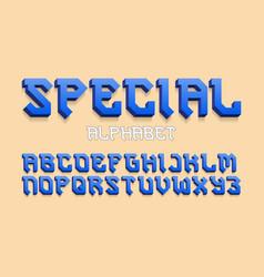 special alphabet blue gradient 3d letters font vector image