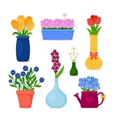 Spring flowers in pots and vase set vector