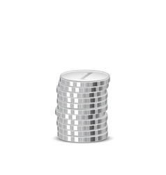 Stacks of silver coins vector image