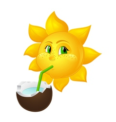 Sun with freckles drinks coconut juice vector