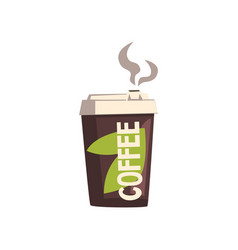 Take away coffee cardboard cup with lid vector