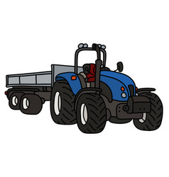 The blue tractor with a trailer vector