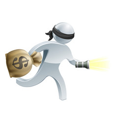 thief with money and flash light vector image