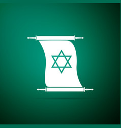Torah scroll icon isolated on green background vector