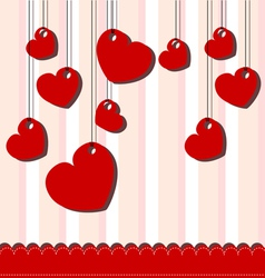 Valentine day card with hanged hearts vector image