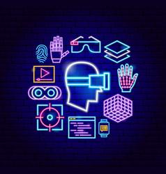 Virtual reality neon concept vector