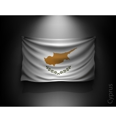 waving flag cyprus on a dark wall vector image