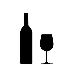 wine bottle with wine glass vector image