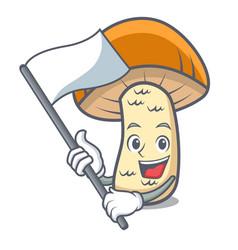 with flag orange cap boletus mushroom mascot vector image