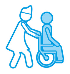 Blue shading silhouette with nurse helping another vector