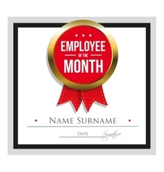 Employee of the month certificate template vector image