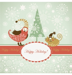 funny bird and cat for greeting card vector image vector image