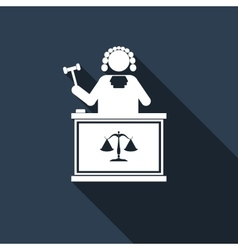 Judge With Gavel icon with long shadow vector image vector image