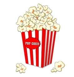 Pop corn in large striped paper box Fast cinema vector image