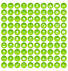 100 childrens playground icons set green circle vector