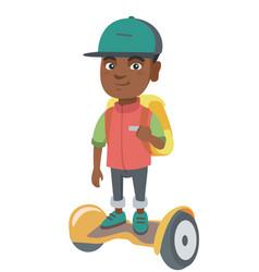 african schoolboy riding on gyroboard to school vector image vector image