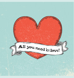 all you need is love text on vintage ribbon over vector image vector image