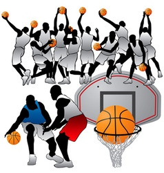 basketball players silhouettes set vector image vector image