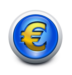 glassy button euro vector image vector image