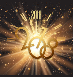 happy new year background with glowing lights and vector image