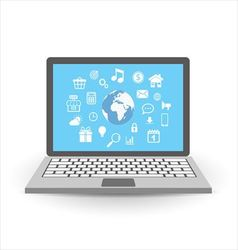Laptop with application icons vector image