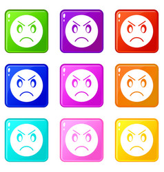 annoyed emoticons 9 set vector image