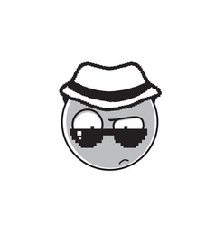 detective cartoon face wear sunglasses and hat vector image vector image