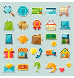 Internet shopping sticker icon set vector image vector image