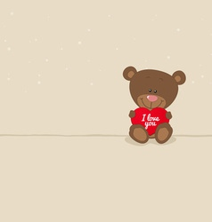 Love bear with red heart vector image vector image