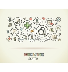 Medical hand draw integrated icon set on paper vector image