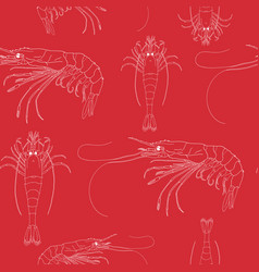 seamless pattern with shrimps vector image vector image
