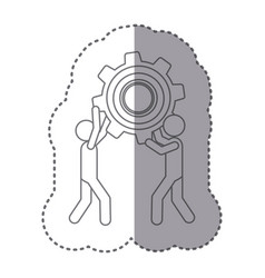 sticker silhouette of men holding a pinion vector image vector image
