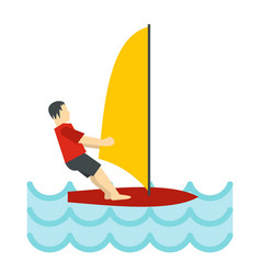 windsurfing icon flat style vector image