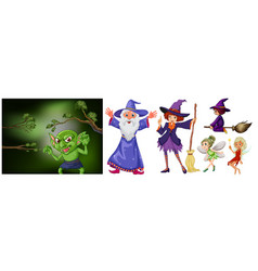 witch and wizard on white background vector image