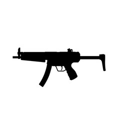 black silhouette of machinegun on white background vector image vector image