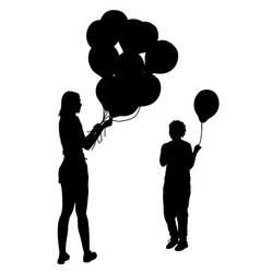Black silhouettes of woman gives child a balloon vector