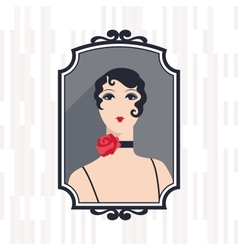 Retro background with beautiful girl of 1920s vector image vector image