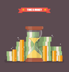 sandglass with cash money in flat style vector image