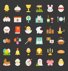 set of easter spring and egg hunt flat icon vector image