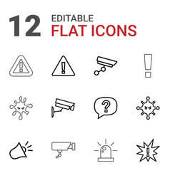 12 attention icons vector