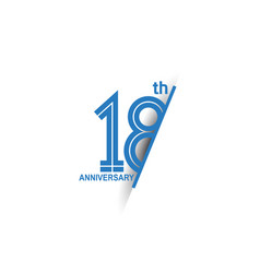 18 anniversary blue cut style isolated on white vector