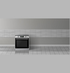 3d realistic mockup - stove in kitchen vector image