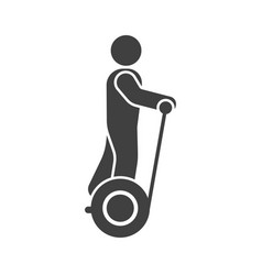 A mans icon on segway on white background vector