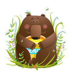 Adorable bear cub eating sweet honey vector