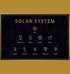 Alchemical golden symbols solar system bodies vector