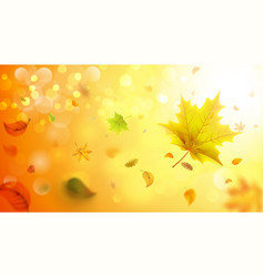 autumn blurred background with falling leaves vector image