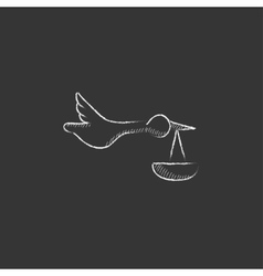 Baby basket with stork Drawn in chalk icon vector image