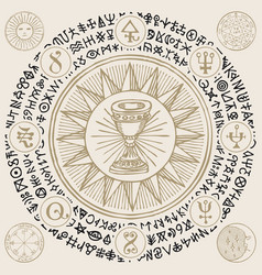 Banner with grail and esoteric symbols vector